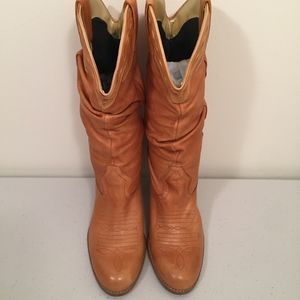Jessica Simpson Tan Leather Mid-Calf Western Boots